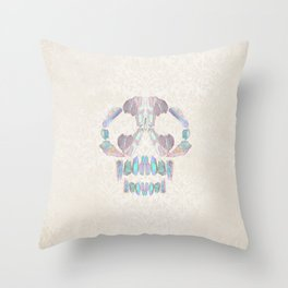 Aurora Quartz Skull Throw Pillow