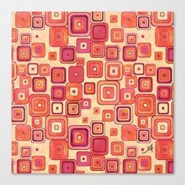 Watercolour Squares Red Amanya Design Canvas Print