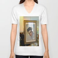 elvis V-neck T-shirts featuring Elvis  by Alissa Fleck