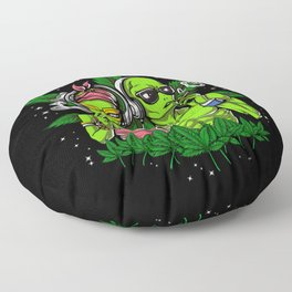 Aliens Hippies Smoking Weed Cannabis Floor Pillow