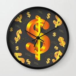 FLOATING ILLUSION OF MONEY GOLDEN DOLLARS Wall Clock
