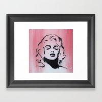 Marilyn Monroe Stencil on Pink Background Framed Art Print