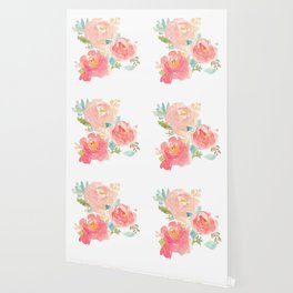 Watercolor Peonies Summer Bouquet Wallpaper