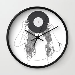 Girl love music Wall Clock