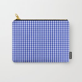 Small Cobalt Blue and White Gingham Check Plaid Squared Pattern Carry-All Pouch