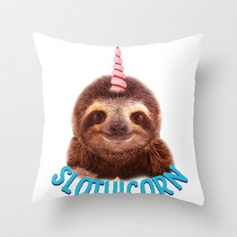 Slothicorn Cute Sloth and Unicorn Lover graphic Throw Pillow
