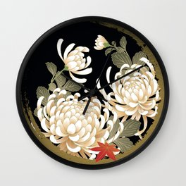 White Peonies Red Maple Leaves Japanese Kimono Pattern Wall Clock
