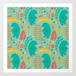 Bear pattern 001 Art Print