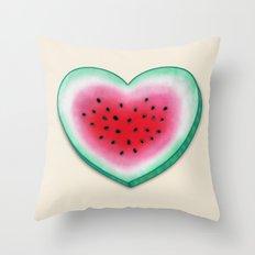 Summer Love - Watermelon Heart Throw Pillow
