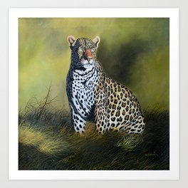 A painting of a Leopard stare Art Print