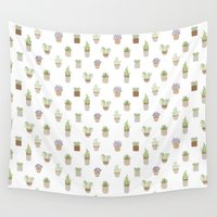 succulents Wall Tapestries featuring Succulents by ldpapers