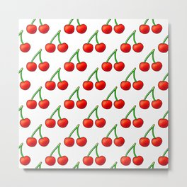 Cherry Pattern on White Metal Print