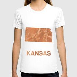 Kansas map outline Peru hand-drawn wash drawing T-shirt