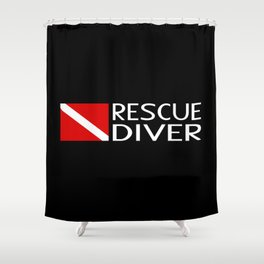 Diver Down Flag: Rescue Diver Shower Curtain