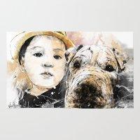 best friends Area & Throw Rugs featuring Best Friends by Fresh Doodle - JP Valderrama