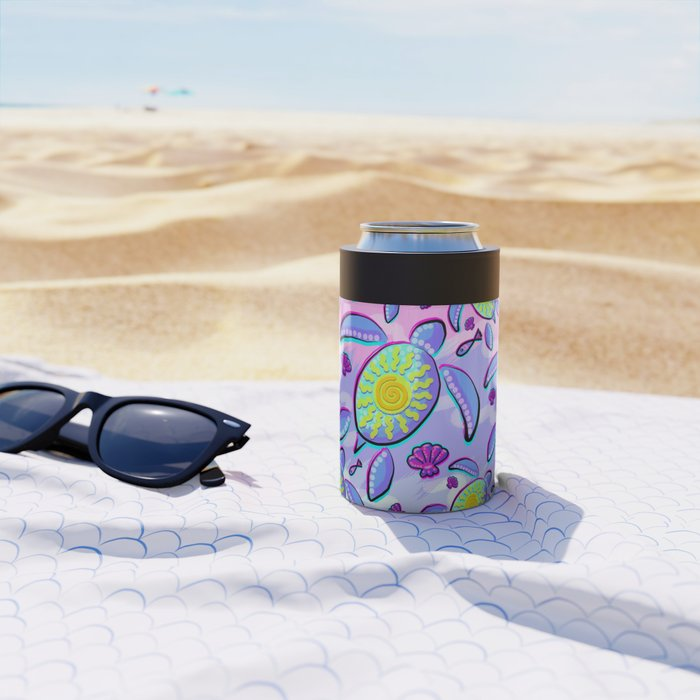 Sea Turtle and Sun Abstract Glitch Ultraviolet Symbol Can Cooler