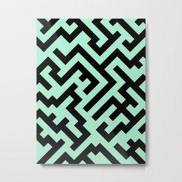 Black and Magic Mint Green Diagonal Labyrinth Metal Print