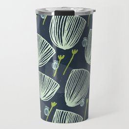 Tulip Garden M+M Navy Black by Friztin Travel Mug