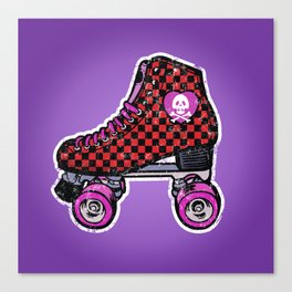 80s red roller skates checkered Canvas Print