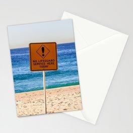 No Life Guard. Bronte Beach. Sydney. Australia. Stationery Cards