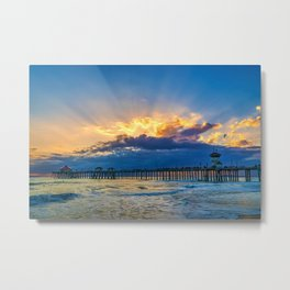 God-rays Over Huntington Beach Pier Metal Print