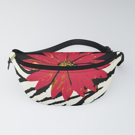 Animal Print Zebra Black and White and Red flower Medallion Fanny Pack