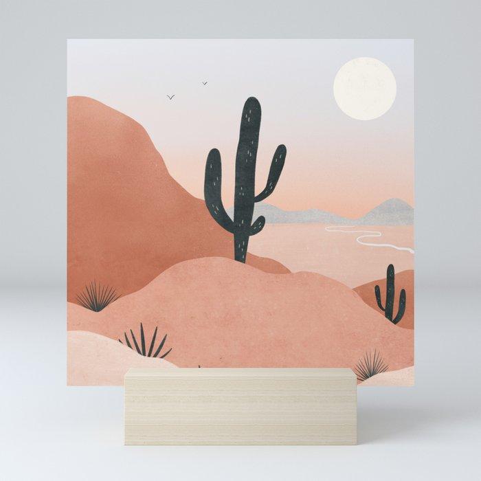 saguaro sunset Mini Art Print