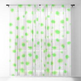 Green Pixels Polka Dots Sheer Curtain