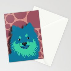 Olie the Pomeranian in Blue Stationery Cards
