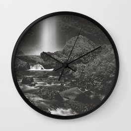 Latourell Falls Waterfall II - Black and White Wall Clock