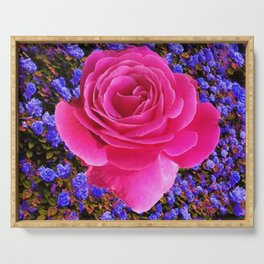 CERISE PINK GARDEN ROSE & PURPLE FLOWERS Serving Tray