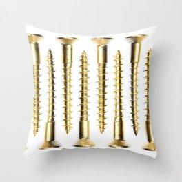 Isolated Golden Screws Texture Throw Pillow