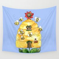 bees Wall Tapestries featuring Busy Bees by Shelley Ylst Art