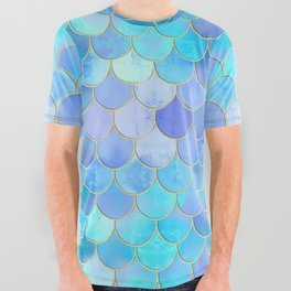 Aqua Pearlescent & Gold Mermaid Scale Pattern All Over Graphic Tee