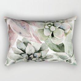 Circular Succulent Watercolor Rectangular Pillow