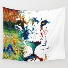 Colorful Lion Art By Sharon Cummings Wall Tapestry