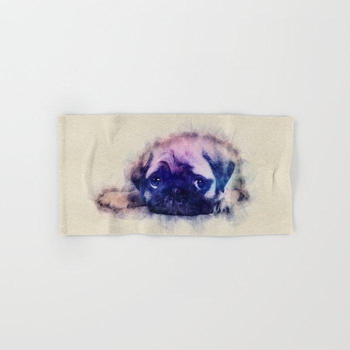 Pug puppy Sketch  Digital Art Hand & Bath Towel