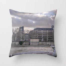 Seine wharf,  Paris Throw Pillow