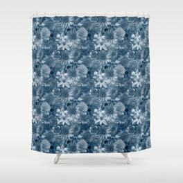Silver Wedding - Honeymoon Flowery Pattern Shower Curtain
