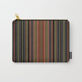 Multi-colored striped pattern in green , black and brown tones . Carry-All Pouch