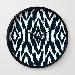 Dark Indigo Blue Ikat Nordic Wall Clock
