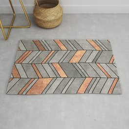 Abstract Chevron Pattern - Concrete and Copper Rug