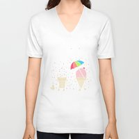 sprinkles V-neck T-shirts featuring Cloudy With A Chance of Sprinkles by Monica Gifford