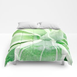 Green leaf photography Morning dew I Comforters