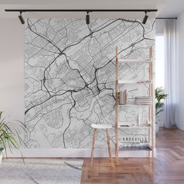 Knoxville Map, USA - Black and White Wall Mural