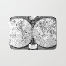 Black and White World Map (1808) Bath Mat