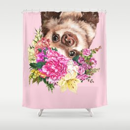 Flower Crown Baby Sloth in Pink Shower Curtain