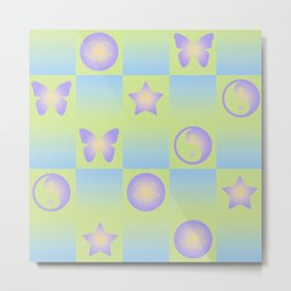Checkered Symbols (YIN YANG/BUTTERFLY/SMILEY FACE/STAR) Metal Print
