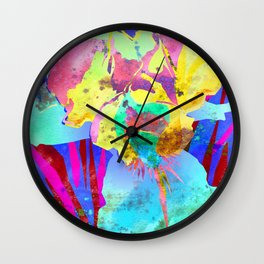 Fluorescent Watercolor Iris Art - Purple & Aqua Blue Wall Clock