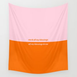 All My Blessings & Me - Pink/Orange Wall Tapestry